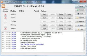 xampp now running as admin but