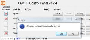 click yes to install apache as service