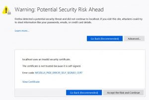 Firefox warning potential security risk