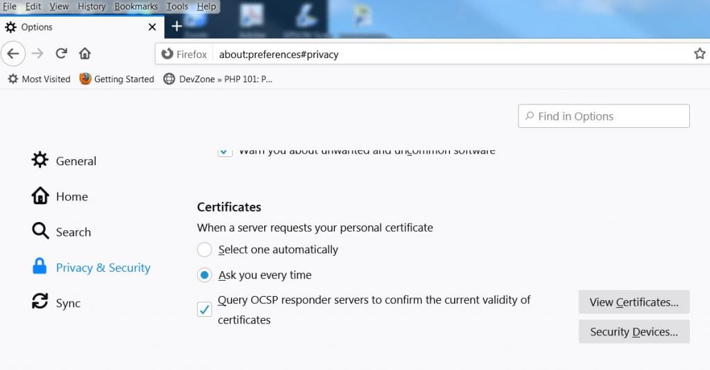 View Certificates in Firefox