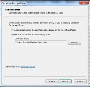 certificate import wizard - step 2 next
