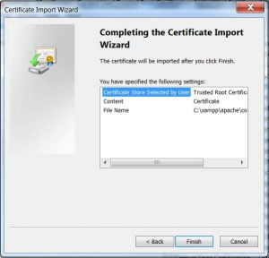 certificate import wizard - step 3 finish