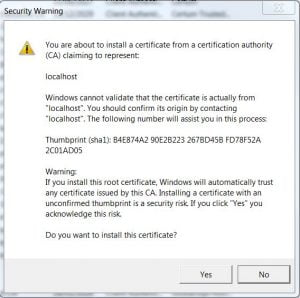 certificate import wizard - step 4 security warning