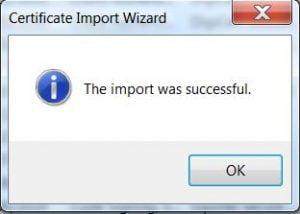 certificate import wizard - step 5 successful